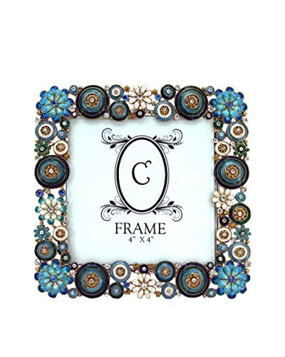 4 x 4 Flower Jeweled Pewter Frame, Blue/Aqua/Orange/White