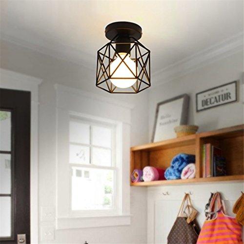 Marsbros Metal Retro Ceiling Light Industrial Flush Mount 1 Light Fixture Mini Edison Kitchen Bar Light (Bulb Not Included) (Black3) (Kitchen Semi Flush Lighting compare prices)