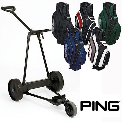 New! Emotion E3 23Lbs Pull Push Electric Motorized 3-Wheel Golf Cart Trolley + New! Ping Pioneer Cart Bag