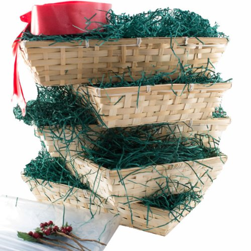Christmas Bumper Pack of 5 The Medium Beale, with Green Shred,Red Bow,Christmas Greetings Card, cellophane basket bag, Christmas Gift Basket, DIY Hamper Kit