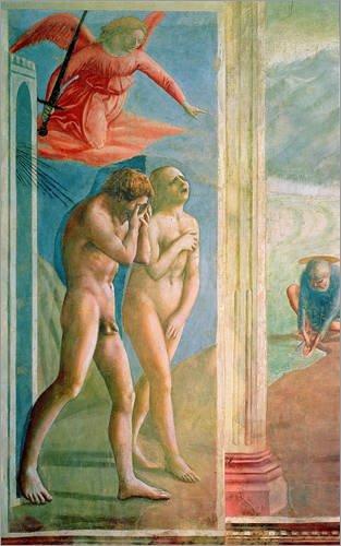 Stampa su acrilico 80 x 130 cm: Adam and Eve banished from Paradise, c.1427 di Masaccio / Bridgeman Images