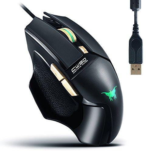 AOSO CW90 Mouse da Gioco 20 Milioni Key Vita USB Mouse cablato adatto ai Combaterwing Genuine 3800 DPI sensore ottico a 4 colori Effetto della luce Anti-Slip laterale design ergonomico Forma per PC MAC