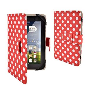 """Anladia Polka Dots Premium PU Luxury Leather Folio Flip Case Cover Protection Skin For 7"""" 7 inch Android Tablet PC, Lenovo IdeaTab A2107 A2207, Lenovo A3000,A5000, Lenovo A1000 A1020, HP SLATE7 SLATE 7, NOOK HD 7"""" Tablet, ARCHOS 70 COBALT, Huawei MediaPad 7 Vogue, Kobo Arc 7 HD, T-Mobile SpringBoard 7"""", 7"""" Inch Samsung Galaxy Tab P1000 P6200 P3100 P3113 P3110, 7"""" Archos Arnova 7F G3, Kobo Vox, Kobo Arc, 7"""" CAPACITIVE MULTI TOUCH ANDROID 4.0 Tablet PC ,Acer Iconia A100, Dell Venue 7, 7"""" Pipo S3pro, (Length max 199 mm,min 185mm, Width max125mm, min 115mm)"""
