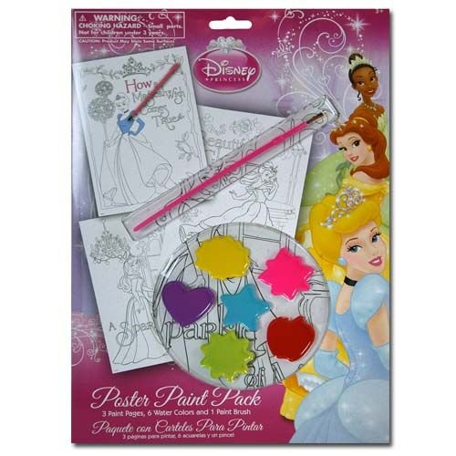 Disney Princess 10 Piece Personalized Doodle Paint Kit W/3 Pages, 6 Water Colors and 1 Brush