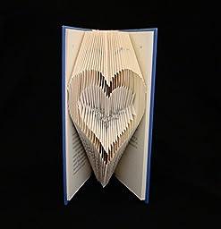 Heart-Outline Folded Book Art Sculpture