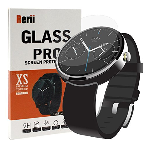 Moto 360 Screen Protector - Rerii Motorola Moto 360 46mm Watch Tempered Glass Screen Protector, 9H Hardness 0.3mm Thickness Real Glass Screen Protector