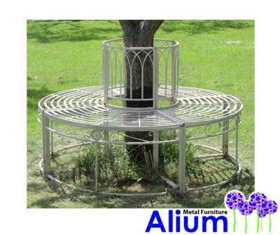 Weiße Baumbank Gartenbank Rundbank aus Stahl