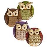 Crimson Hollow Owl Appetizer Plates Set of Four