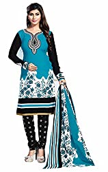 Aarti Apparels Women's Cotton Unstitched Dress Material _MAHARANI-22_Blue and Black