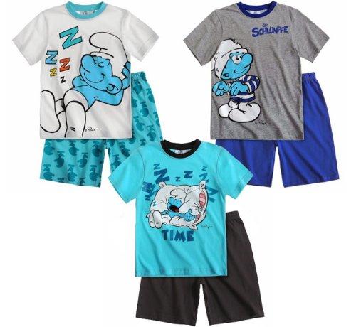 Die Schlümpfe Kollektion 2014 Schlafanzug 98 104 110 116 122 128 134 140 Jungen Neu Top Pyjama Shortie Shorty Kurz (110 - 116, Grau-Blau)