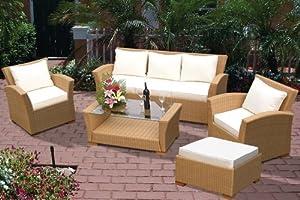 Charleston Foure Piece Outdoor Deep Seating Wicker Set in Honey