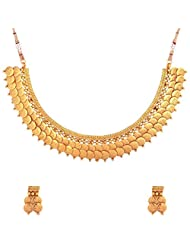 The Jewelbox Twin Lakshmi Coin Ginni Gold Plated Temple Antique Necklace Earring Set For Women