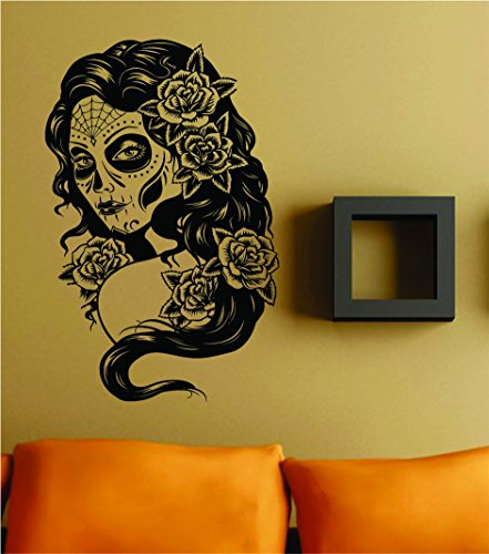 Dabbledown Decals Day of the Dead Girl Version 101 Wall Vinyl Decal Sticker Art Graphic Sticker Skulls Wall Vinyl Decal Sticker Art Graphic Sticker Sugar Skull Sugarskull