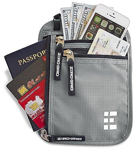 02. Zero Grid Neck Wallet w/RFID Blocking- Concealed Travel Pouch & Passport Holder
