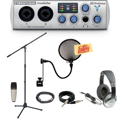Presonus Firestudio Mobile 10X6 Portable Firewire Recording Interface Pack With Mic, Mic Stand, Pop Filter, Xlr Cable, Instrument Cable, Headphones, And Polishing Cloth