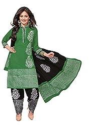 PADMiNi Ethnicwear Women's Dress Material Green Free Size