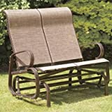 Garden Seat Swing Bronze 2 Seater Glider Rattan Style Metal Patio Chair