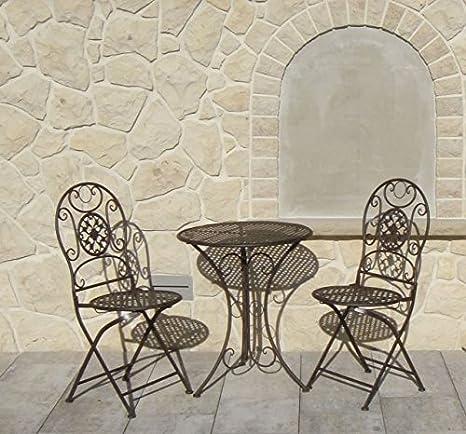 Set tavolino e 2 sedie pieghevoli, in ferro, per balcone o giardino