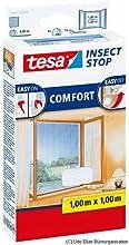 tesa Fliegengitter für Fenster, beste tesa Qualität, weiß, leichter Sichtschutz, 1m x 1m