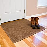 "Andersen 280 WaterHog Fashion Polypropylene Fiber Entrance Indoor/Outdoor Floor Mat, SBR Rubber Backing, Custom Cut 3' Length x 3' Width, 3/8"" Thick, Medium Brown"