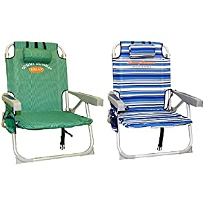 Buy 2 Tommy Bahama Backpack Cooler Beach Chairs (1 Green and 1 Blue Striped) by Tommy Bahama