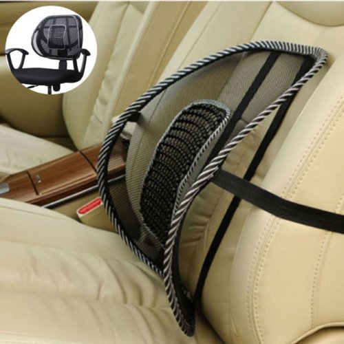 Black Mesh Lumbar Back Brace Support Office Home Car Seat Chair Cushion Cool (1) (Lumbar Support Car compare prices)