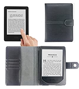 """Navitech All New Kindle (2014) 6"""" Glare-Free Touchscreen Black Leather Case Cover & Reading Light"""