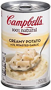 Campbell's 100% natural Creamy Potato with Roasted Garlic Soup, 18.8-Ounce Cans (Pack of 12)