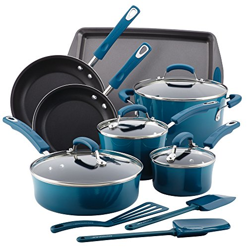 Rachael Ray Hard Enamel Nonstick 14-Piece Cookware Set, Marine Blue (Rachael Ray Cookware Set compare prices)