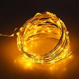 JiaMao Fashionable Romantic Waterproof 10 Meters 5V 100 LED Fairy USB Sliver String Lights Decorative Stripes for Christmas Home Holidays Halloween Party Wedding (Yellow)