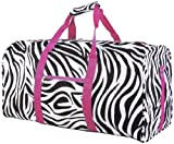 Zebra and Hot Pink Duffel Bag Large 22""