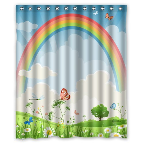 Fashion Cartoon Cute Butterflies Lovely Flowers And Cool Rainbow Shower Curtain 60