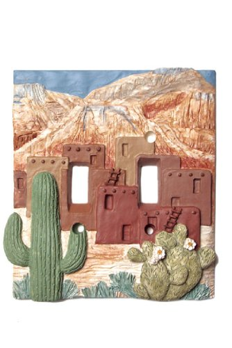 Pueblo cactus Southwestern SWITCH PLATE cover DOUBLE toggle switchplate