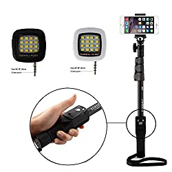 Shopizone Yunteng YT 1288 Bluetooth Selfie Stick with Selfie Flash Light Combo For Apple, Samsung, HTC, Lenovo, Oneplus, Motorola, Nexus, Xiaomi Redmi Note 3, Coolpad Note 3 Plus, Lenovo Zuk Z1 / Vibe k5