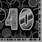Unique Party Glitz 40th Birthday Paper Napkins (Pack of 16) - Parent