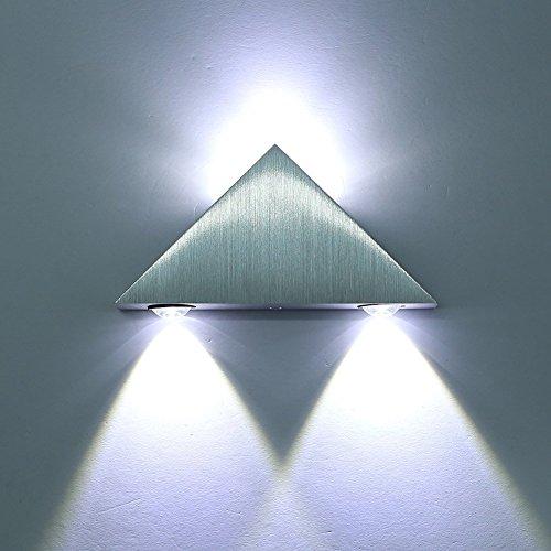 Lightess 3W LED Lampada da Parete in Alluminio, Triangolo Progettato Applique Moderna, per Teatro Studio Camera da Letto, Bianco Caldo