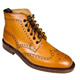 Loake 1880 Burford Mens Lace Up Brogue Boots Tan Leather