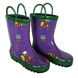 Foxfire for Kids Purple with Owls Rubber Boots size 6