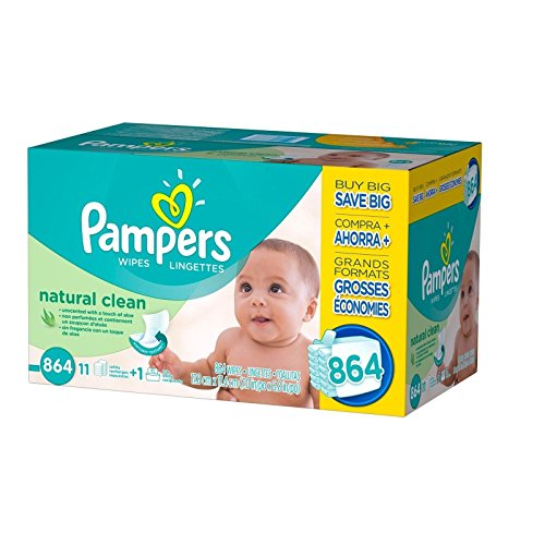 Doaaler(TM) Pampers Natural Clean Baby Wipes 864 Count Unscented Hypoallergenic - New