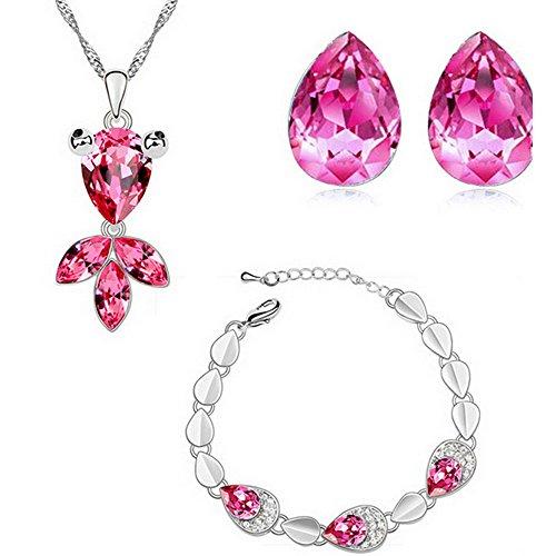 HSG Gioielli Hight Quality Rose Red Imposta sveglia goccia Goldfish forma di rosa di cristallo collana orecchini braccialetto