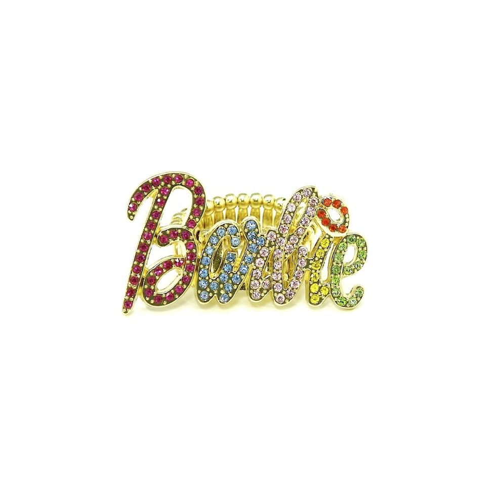Nicki Minaj Barbie Iced Out Stretch Band Ring Multi With Red Lips Single Row B