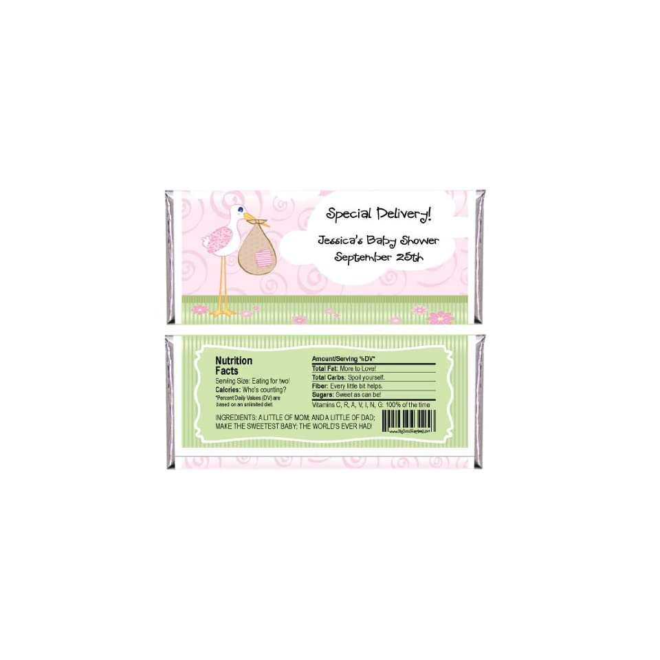 Stork Baby Girl   Personalized Baby Shower Candy Bar Wrapper Favors