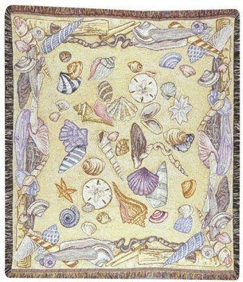 "50"" X 60"" Pastel Seashells Collage Tapestry Throw Blanket front-938820"