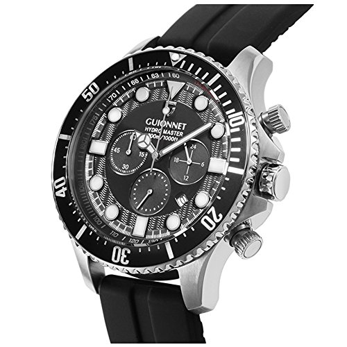 GUIONNET HYDRO MASTER MEN WATCH,DIVER Chronograph,Anti-Reverse Diver bezel function,Quartz,Silver Black (Dive Master Chrono compare prices)