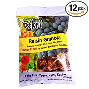 Oskri Raisin Granola, 3.53-Ounce Bags (Pack of 12)