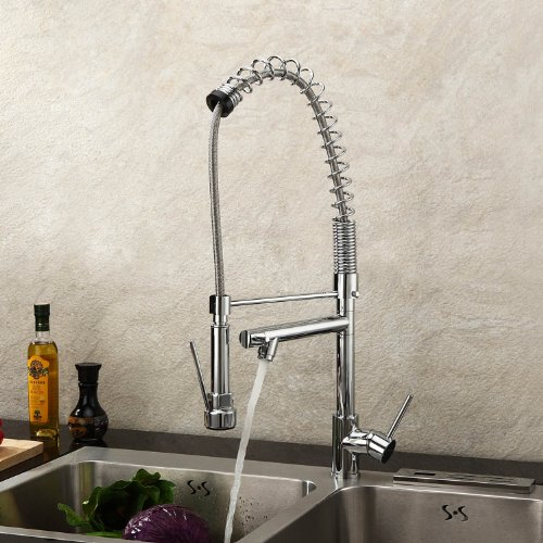 Lightinthebox Deck Mount Single Handle Solid Brass Spring Kitchen Faucet with Two Spouts Discount Kitchen Sink Faucet with Pull Out Spray Pull Down Sprayer Chrome Finish Unique Desinger Vanity Cooper Plumbing Fixtures Roman Tub Faucets (Kitchen Faucet With 2 Spouts compare prices)