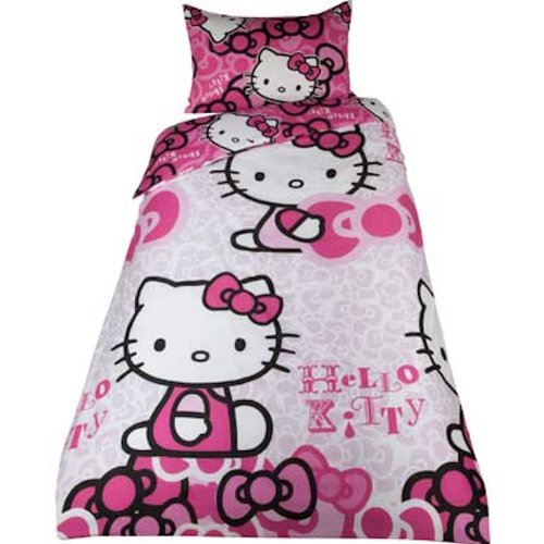 parure housse de couette hello kitty linge de maison lit 1 personne decoration chambre enfant. Black Bedroom Furniture Sets. Home Design Ideas