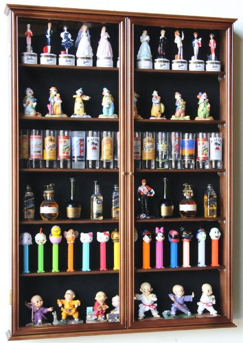 Xl Shot Glass Display Case Rack Holder Cabinet For Tall Shooter And Mini Liquor Bottle -Walnut front-972756