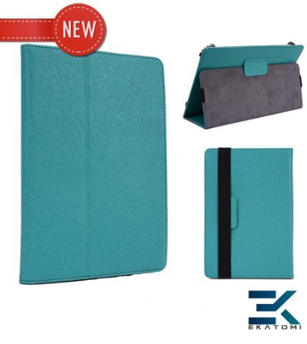 Verizon Wireless Ellipsis 7 Case | Green Teal Universal Book Folio 7-Inch Tablet Cover With Stand +Ekatomi Screen Cleaner