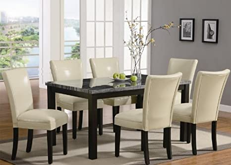 7PC Rich Black and Gray Faux Marble top with Rectangular Leg Dining Table and Chair Set